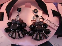 OTTAVIANI - GORGEOUS BLACK STONES & SILVER CRYSTALS EARRINGS - MADE IN ITALY http://www.ebay.com/itm/311120385085?ssPageName=STRK:MESELX:IT&_trksid=p3984.m1555.l2649