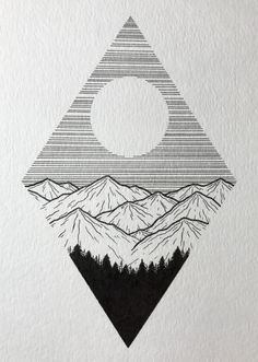 Little mountain drawing. Cool Art Drawings, Pencil Art Drawings, Art Drawings Sketches, Art Sketches, Drawing Ideas, Tumblr Drawings, Simple Doodles Drawings, Black Pen Sketches, Black Pen Drawing