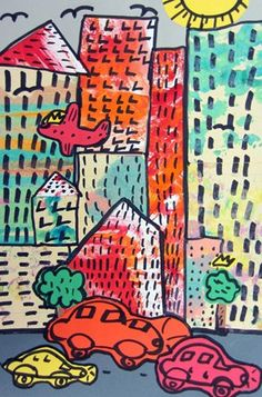 Samantha7854's art on ArtsoniaStudents looked at work by New York artist Basquiat. He was a homeless man who painted childlike images of New York City. We used painted papers to create the buildings, and vehicles were added with construction paper.
