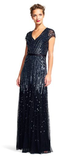 Adrianna Papell | Beaded V-Neck Gown