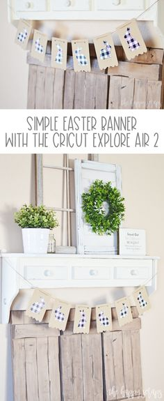 This Simple Easter Banner is so easy to make with whatever Cricut machine you might have! Get the tutorial over at The Happy Scraps. Diy Craft Projects, Fun Crafts, Paper Crafts, Vinyl Projects, Cricut Banner, Cricut Vinyl, Custom Easter Baskets, Banner Shapes, Ocean Home Decor