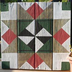 Custom personalized rustic barn quilt sign on reclaimed wood. Barn Quilt Designs, Barn Quilt Patterns, Quilting Designs, Rustic Barn, Barn Wood, Painted Barn Quilts, Painted Fences, Painted Stairs, History Of Quilting
