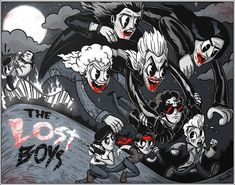 Check out this awesome Lost Boys art from one of my Fav artists . The lost boys is my Fav film ever and this art is certified dope . Horror Cartoon, Horror Films, Horror Art, Cartoon Art, Horror Icons, Lost Boys Tattoo, The Lost Boys 1987, Kids Canvas Art, Halloween Cartoons