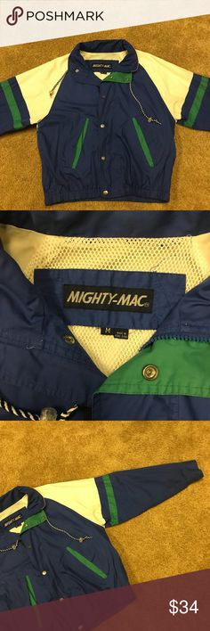 Mighty Mac Vintage windbreaker retro color jacket Men's size medium vintage Mighty-Mac windbreaker jacket. NICE SHAPE! Fold up hood in collar. Mighty-Mac Jackets & Coats Windbreakers