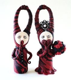Ooak Art Sculptures Mr and Mrs Mornings with Mindful Thoughts and Curiosities by avracadaverfem1