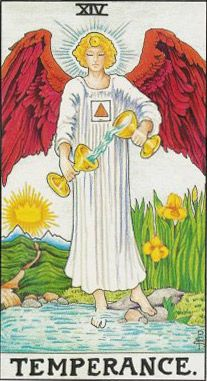 Temperance symbols - red triangle, gold circle, one foot in water, cups...