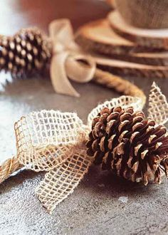 Dip pine comes w gold glitter .. Use pine ones and burlap as part of table setting