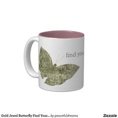 Gold Jewel Butterfly Find Your Happy Two-Tone Coffee Mug