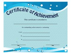 Free swimming certificates 000 kids pinterest certificate this printable certificate of achievement features blue waves and bubbles to be presented to an yelopaper Image collections