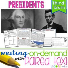 How to create writing on-demand assignments using paired texts about George Washington and Abraham Lincoln. This is also a great way to integrate with social studies!