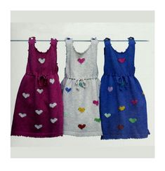 Baby Heart Dress - Toddler Sizes: 1 & 3 / Chest 22 and 24 ins - PDF Knitting Pattern – Baby Knitting Patterns, Baby Patterns, Vintage Patterns, Free Knitting, Quick Knits, Heart Dress, Vintage Knitting, Yarn Colors, Toddler Dress
