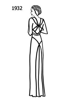 1932 dress - fashion coloring