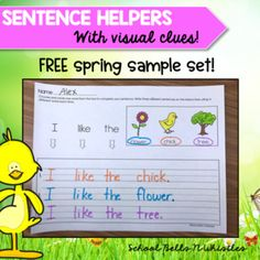 Sentence Helpers are an amazing way to provide independence or emerging writers! Students are abel to select which words they want to use. There are multiple variations and repetition of words for practice. This is a FREE spring sample set! I am sure you and your Beginning Of Kindergarten, Kindergarten Language Arts, Kindergarten Writing, Writing Strategies, Writing Resources, Writing Activities, Writing Ideas, Repetition Of Words, Sentence Writing