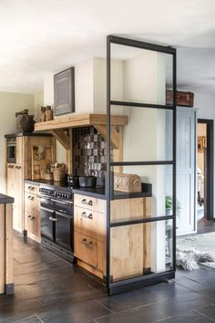 Solid wooden kitchen made of gray oak – rustic home interior Kitchen Furniture, Kitchen Interior, Pipe Furniture, Industrial Furniture, Vintage Industrial, Reclaimed Furniture, Industrial Lamps, Industrial Farmhouse, Modern Farmhouse Kitchens