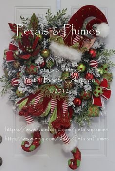 "Christmas Elf Wreath  ""Patches""   Lime/Red/White combo"