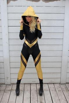 Sporty Yellow Striped Panelled Hooded Catsuit Jumpsuit Jumper #UNIQUE_WOMENS_FASHION
