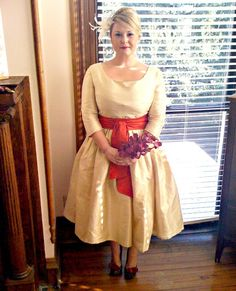 vintage inspired tea length wedding dress with sleeves $148