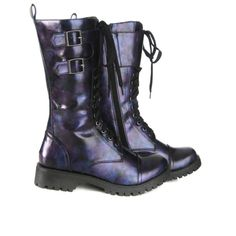 Volatile Blue And Purple Gasoline Combat Boots   Hot Topic ($60) ❤ liked on Polyvore