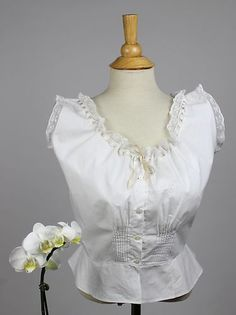 Antique Corset Cover in White Cotton Monogram Initials Insertion Lace and Tucks | www.SarahElizabethGallery.com