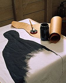 Halloween Decoration - Paint silhouette figures onto sheer curtains and hang using tension rod...GENIUS!