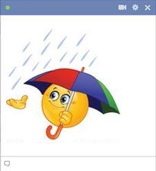 Facebook smiley, aki egy esernyőt tart