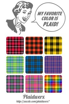 Fun promotional image for the #Plaidwerx shop at Zazzle, showcasing a rainbow of plaid patterns available.
