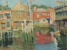 Jane Peterson (1876-1965)      DOCKS AT GLOUCESTER, ca. 1915 Oil on canvas