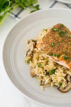 Spiralized Mushroom Turnip Risotto with Dijon-Honey Salmon - 1/3 recipe = 5pts