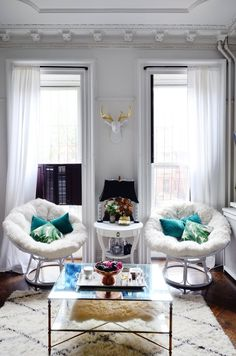Keep the shutters open, but put sheer curtains into the windows | Apartment Therapy