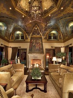 This owner loves European Renaissance art, as evidenced by the ceiling and above mantle artwork. Amaxing quality and design. Like being in a chapel or mueum but with comfortable living furniture. Expensive obviously, but great taste is not cheap!