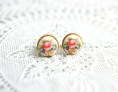 Round Floral Gold Ear Studs Matte Gold Ear Posts Allergy by Amourx, $8.00
