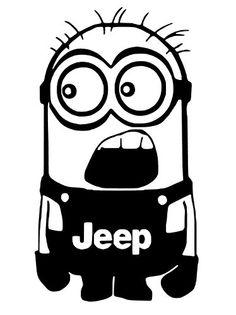 "Minion Jeep (Vinyl Sticker Decal for Car Bumper, Windows, Laptop, Wall, Furniture) (Black, 7""x4"")"