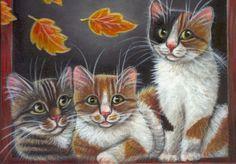 Gray Orange Tabby & Calico Kitties - Fall Acrylic Painting