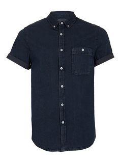 INDIGO DENIM SHORT SLEEVE SHIRT - Men's Shirts  - Clothing
