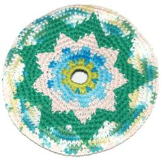 Frisbee Flying Disc Stripes Cotton Crochet by pigswife on Etsy, $15.00