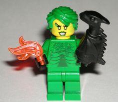 LEGO DRAGON Girl MINIFIGURE Evil Super Hero Female/Fire/Animal/Green Hair/Flame #LEGO Lego For Sale, Lego Dragon, Lego Custom Minifigures, Dragon Girl, Prince Of Persia, Lego Group, Lego Parts, Cool Lego, Indiana Jones