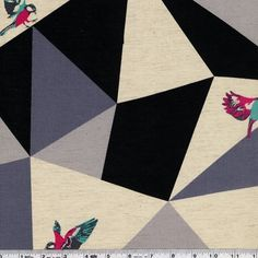 These stunning, color-rich designs are printed on a lovely, extra wide. lightweight cotton/linen blend. The extra width allows you to play a bit more with scale, and they're perfect for quilt back, home dec projects, and stunning garment sewing projects. In this print, a bold mosaic of irregular triangles serves as a backdrop for beautifully detailed birds in flight. This shirting weight Japanese fabric is 85% cotton and 15% linen and is 60/61