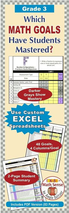 Take a look at this custom Excel file for recording progress on math goals. You can enter mastery levels for each goal up to four times. Track progress for up to 30 students. ~by Angie Seltzer