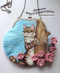 Handmade felted purse with cat and flowers, Wool frame purse, Crossbody bag, Shoulder Bag by MarusyaKacharizkina on Etsy https://www.etsy.com/listing/229995711/handmade-felted-purse-with-cat-and