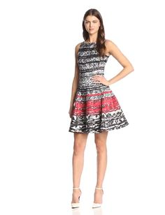Julian Taylor Womens Sleeveless Pintuck and Lace Dress