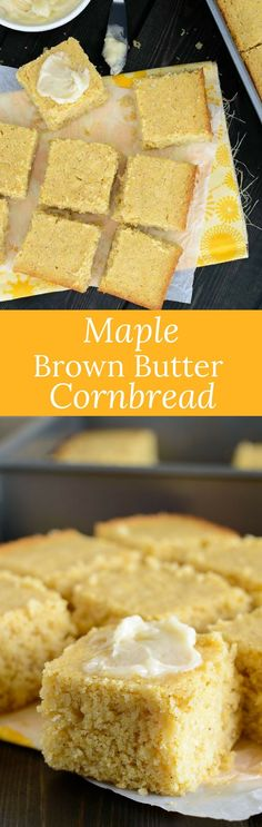 This flavorful, moist, crumbly, maple brown butter cornbread is by far the best I've had! It crumbles without being anything close to dry. via @introvertbaker