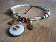 Boho summer white/beige/blue necklace. Upcycled jewelry. Repurposed vintage wire wrapped elements. Wood, mother of pearl, ceramic.