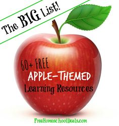 The BIG List of 60+ Apple-Themed Free Learning Resources! FREE Printables, Crafts, Science Projects, Activities + More.