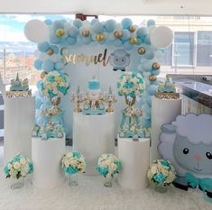 Baby boy shower, boy baptism, baptism party, baby party, boys first birthda Baby Shower Balloons, Baby Shower Games, Baby Boy Shower, Balloon Decorations, Birthday Party Decorations, Birthday Parties, Shower Party, Baby Shower Parties, Decoration Buffet