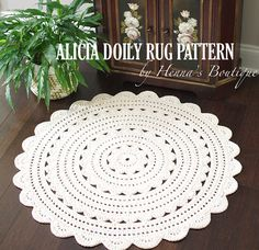 Crochet Doily Rug Pattern ALICIA 35 inch rug by hennasboutique