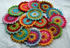 Crochet motifs for a customer. Requested in summery shades.