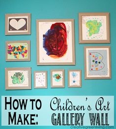 Great display idea for child art: How to turn your kids' artwork into a framed gallery wall using thrifted and dollar store frames.