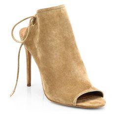 AQUAZZURA Mayfair suede open-toe booties found on Nudevotion