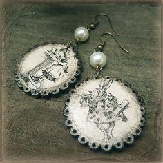 """havranka / Earrings """"Alice & The White Rabbit"""" Rabbit, Alice, Handmade Jewelry, Christmas Ornaments, Holiday Decor, Earrings, Bunny, Ear Rings, Rabbits"""