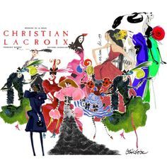 Christian Lacroix Fashion Illustrations by trashychic on Polyvore featuring Christian Lacroix, La Femme, art, fashion illustration, christian lacroix and michelle obama